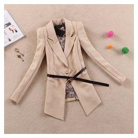2014 女裝外套 純色一粒扣修身顯瘦中長款小西裝 西服