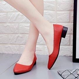 食尚 淺口尖頭粗跟單鞋舒適百搭女鞋低跟平底女休閒工作鞋