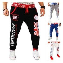 男裝2016 男裝外貿爆款 褲 英國國旗 拳頭標志印花 褲白