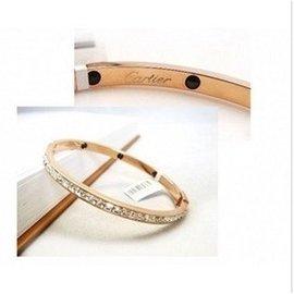 鑲鑽手環 情侶手鐲手鏈 鑽石手鐲 14K玫瑰金 女 彩金