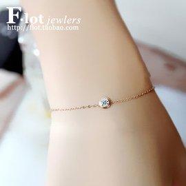 大牌風鈦鋼鍍18k彩金玫瑰金一克拉鑽石單鑽裸鑽手鏈飾品女