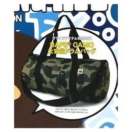 b^~ape潮牌迷彩包手提單肩包斜 包 圓筒包旅行包男女