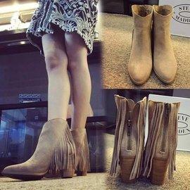 歐洲站 馬丁靴 英倫風真皮流蘇高跟女短靴 粗跟尖頭女靴潮