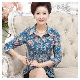 中老年媽媽裝大碼上衣修身襯衫長袖40~50歲女裝春夏裝七分袖襯衣
