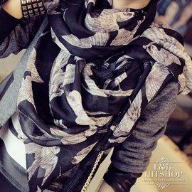 特~上品行~歐洲站2014秋裝 女式飛鳥圖案流蘇絲巾圍巾大披肩