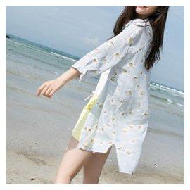 夏天印花中長款七分長袖雪紡開衫襯衫薄空調外套大碼女裝防曬衣潮