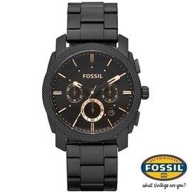 FOSSIL~大錶徑腕錶↘三眼計時男款~45mm^(咖啡xIP黑^)雜誌廣告 FS4682