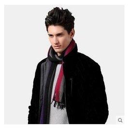 加厚仿羊絨針織圍巾 拼色休閒男士圍巾