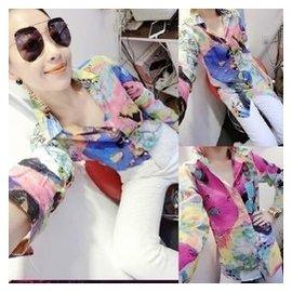2015 女士棉麻長袖上衣中長修身薄款碎花襯衫 立領開衫 潮