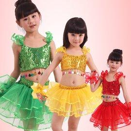 食尚 六一兒童表演服舞蹈裙演出服女童 亮片紗裙拉丁分體蓬蓬舞裙