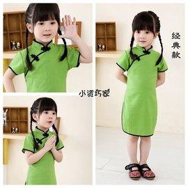 食尚 中式亞麻旗袍復古兒童唐裝裙純色女童 中大童民族古箏演出服