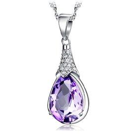 925純銀水滴形吊墜天然紫水晶項鏈鑲鑽許願石女 款日韓吊墜女