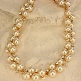 珍珠水晶鑽大牌誇張鎖骨鏈短款項鏈女 氣質結婚配飾品頸鏈