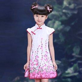 食尚 兒童旗袍夏裝女童中式唐裝公主裙小女孩春夏修身旗袍古演出服裝