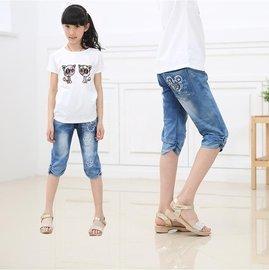 食尚 女大童中褲夏裝女童牛仔七分褲短褲馬褲兒童褲子薄款七分褲女