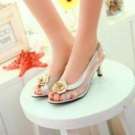 食尚  女鞋涼鞋PU軟面中跟低幫橡膠甜美花朵魚嘴細跟正