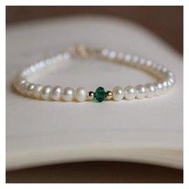 百搭近圓天然淡水珍珠手鏈 女閨蜜單鑽綠水晶14包金手鐲
