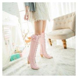 秋鼕繫帶高筒靴綁帶馬丁靴粗跟蝴蝶結女靴子糖果色40~43大碼靴