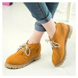 春秋 短靴英倫磨砂 馬丁靴大頭鞋工裝鞋低跟鞋平底女鞋大碼