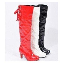 定大碼黑色漆皮高筒靴子女靴粗跟高跟靴爵士舞鋼管舞靴過膝靴長靴