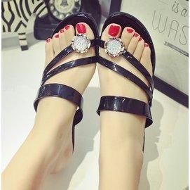 食尚 夏平底水鑽拖鞋女式 平跟涼拖鞋 厚底套趾夾板夾腳女拖