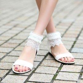 食尚  女鞋涼鞋女甜美平底平跟學生鞋 蕾絲露趾春秋羅馬涼鞋