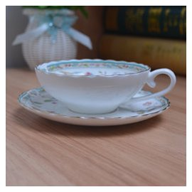 英國紅茶咖啡杯碟套裝英倫下午茶杯荷口 描金24K無鉛骨瓷送勺