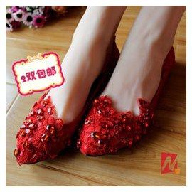 紅色水晶繡花婚鞋伴娘鞋 純 新娘鞋平底低跟單鞋女鞋