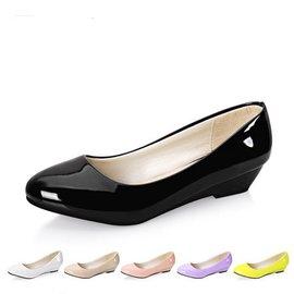 14春秋 甜美漆皮圓頭平底坡跟單鞋高跟鞋中跟工作職業女鞋黑色