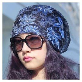 帽子春秋 蕾絲網眼套頭女帽 透氣頭巾帽 光頭帽 百搭包頭帽
