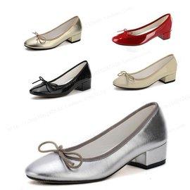 2013小辣椒蝴蝶結低跟鞋圓頭粗跟單鞋芭蕾鞋銀色真皮女鞋小紅鞋