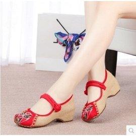 老北京布鞋民族風繡花鞋拼色京劇臉譜牛筋底內增高亞麻女鞋