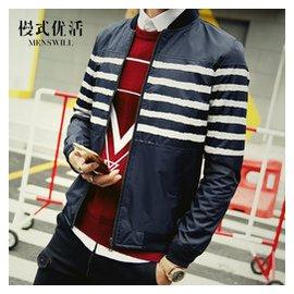 慢式優活秋裝外套男薄款夾克男士 修身中青年學生棒球服jacket