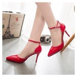 2015春夏 女單鞋 尖頭細跟淺口漆皮大紅色婚鞋包頭高跟涼鞋