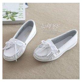 豆豆鞋女真皮小白鞋流蘇護士鞋白色平底單鞋淺口圓頭孕婦鞋懶人鞋