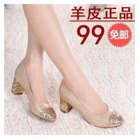 2014 潮女鞋真皮鞋單鞋子女用婚鞋坡跟中跟秋天舒適高跟 鞋