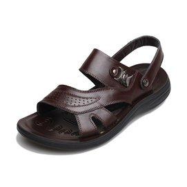 意爾康男涼鞋正品真皮透氣商務 男士沙灘鞋夏大碼45 46 47 48
