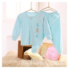 小素材 秋鼕 嬰幼兒衣服男女寶寶純棉內衣內褲套裝兒童睡衣