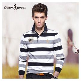 與狼共舞長袖T恤 男士條紋 polo衫 秋款翻領純棉 男裝正品6602