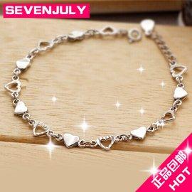 正品包郵 女士925純銀手鏈配飾鉑金鑽石手飾 靚麗飾品女款