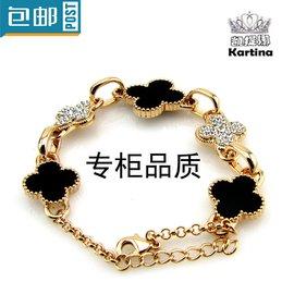 凱提娜四葉草女 鑲鑽鑽石幸運 原創免郵包郵手鏈手鐲手環