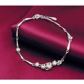 簡愛 心意水滴純銀鍍鉑金鑲鑽石手鏈女士手鏈 帶證書