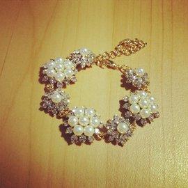 高端品牌高大上華麗奢侈款鑽石珍珠手鏈