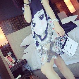 卡通娃娃頭像印花花朵雪紡裙夏裝 蕾絲拼接寬松腰短裙女連衣裙