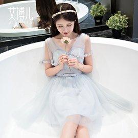 食尚 伴娘服 灰色伴娘服短款 韓式伴娘團禮服姐妹裙修身宴會晚禮服顯瘦