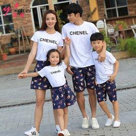 食尚  親子裝夏裝款一家三口家庭裝卡通印花 套裝母子母女全家裝