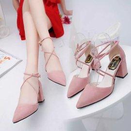 食尚 跟鞋  尖頭高跟鞋淺口系帶縷空中跟單鞋女夏7cm粗跟羅馬涼鞋女