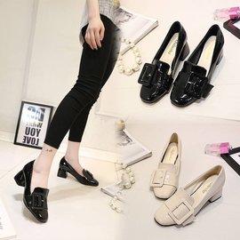 食尚 跟鞋 英倫女鞋真皮復古小皮鞋圓頭粗跟中跟漆皮樂福鞋女淺口單鞋