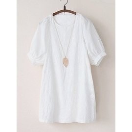 2014日繫森女繫刺繡燈籠短袖白色娃娃裝女棉布連衣裙夏淑女小清新