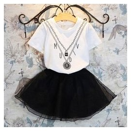 兒 女童假弔飾項鏈短袖T恤 短裙兩件套裝2016夏裝 3~8歲O